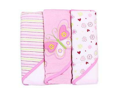 Spasilk Soft Terry Hooded Towel Set, Pink Butterfly, 3 Count