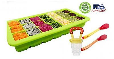 Healthy homemade Baby food kit 21 portions storage tray freezer with lid a...