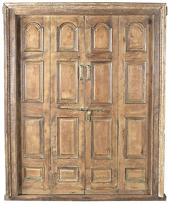 Stunning Carved Antique Wood Brown Entry Door w/Frame,70'' x 87''H.