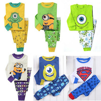 2pcs Minions T Shirt Pants Pajamas Pyjamas Sleepwear Boy Girls Kids XMAS