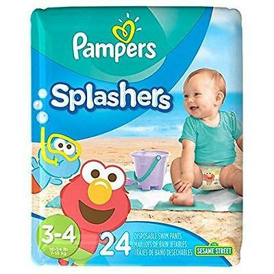 Pampers Splashers Disposable Swim Pants Size 3 4, 24 Count