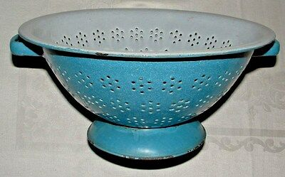 Antique,Vintage Blue & White Graniteware, Enamelware Colander,Strainer, Handled