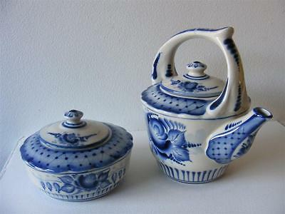 Russian Porcelain - Gzhel - Teapot with Sugar Bowl 1997 (handmade, hand painted)