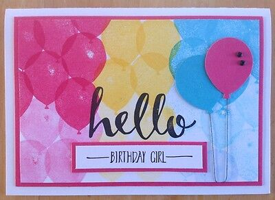 Handmade Birthday card: 'Hello birthday girl' balloons with pink.