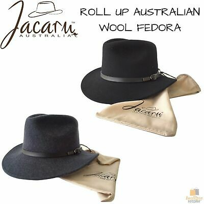 JACARU Australian Wool Hat Trilby Fedora 100% WOOL Crushable Travel Genuine 1849