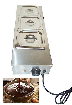 3 Pans Chocolate Melter Well Bain Marie Water Heating