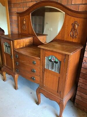 Antique Maple Sideboard Dresser Timber, leadlight glass and mirror