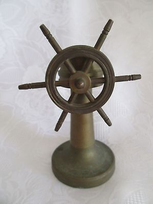 Vintage ~ Brass Compass ~ Maritime Ship Wheel Design ~ L@@k ~