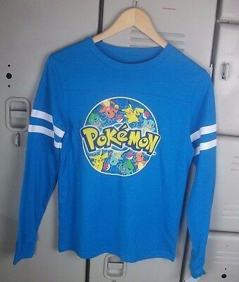 Youth Boys Girls Unisex T-Shirt Pokemon Monsters Long Sleeve Blue Size Large