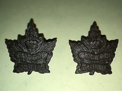WW1 CEF OR's Collars-2nd Canadian Mounted Rifles - BCH - (Matched Pair)