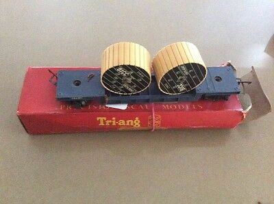 Model Trains Triang Railways R238 Depressed Wagon With 2 Cable Drums