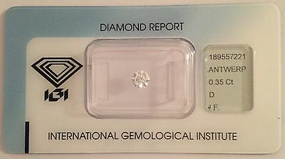 DIAMANTE CERTIFICATO IGI BLISTER 0.35 ct. D color, IF IDEAL CUT EX, EX, EX 0.30