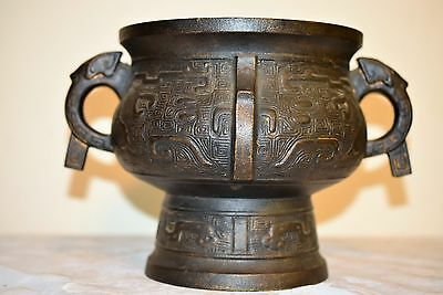 Antique Asian Chinese Bronze Incense Burner Footed Bowl