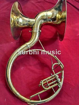 "Double Bell Sousaphone 22"" Made of Brass Gold Lacquer  With Free Case & Mouth Pc"