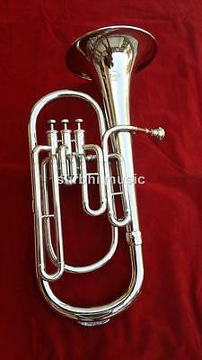 Baritone Silver Chrome Nickle 3 Valve High  Bb Pitch With Free Case &Mouth Piece