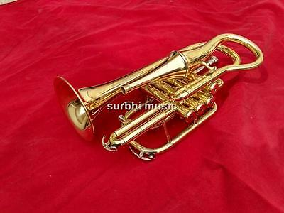 Echo Cornet Made of Brass in Gold Lacquer Extra Mute Effect Slide With Free Box