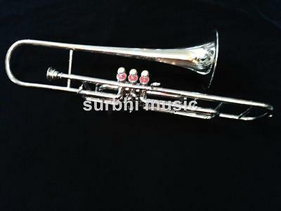 Trombone Valve 3 Key in Silver Chrome Polish With Free Case & Mouthpc & Shipping