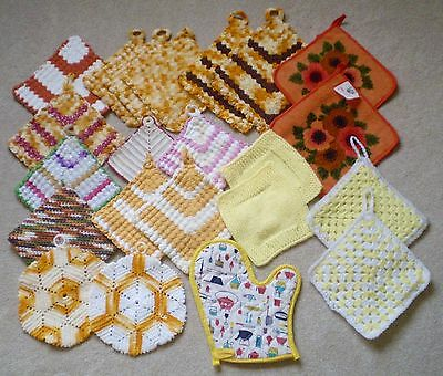22 Vintage Antique Pot Holders MIXED LOT 1940s-1990s Crocheted & More CRAFT