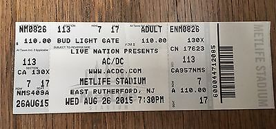 Ac/dc Ticket Stub 8/26/2015 Met Life Stadium East Rutherford Nj Ny Angus Young