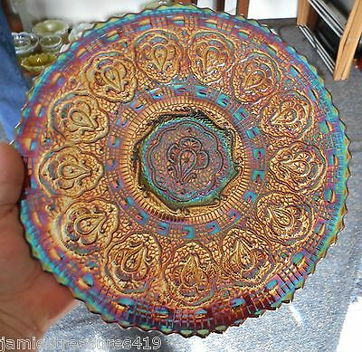 "Fenton Electric Amethyst Carnival Glass Persian Medallion 9 1/2"" Flat Plate"