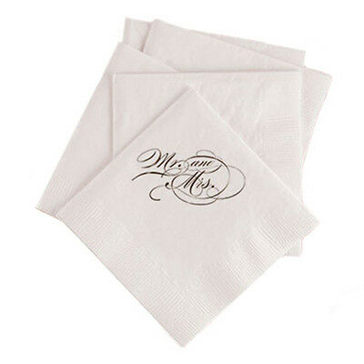 100 Custom Printed Mr and Mrs Script Font Paper Wedding Napkins
