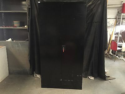 Huge Black Work Solutions Metal Storage Cabinet With 3 Shelves Lockable With Key