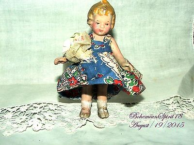 Antique Vintage Japan Bisque Girl Double Jointed Sundress Miniature 4'' Doll