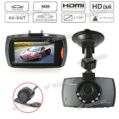 Dual Cams HDMI 1080p In Car Dash DVR Video Camera Recorder Wide Angle Lens Cam