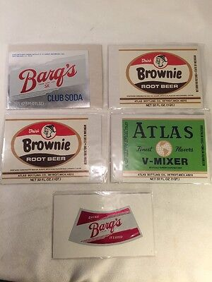 5 Vintage Soda Pop Bottle Labels Wraps Wrappers - Brownie Atlas Barq's