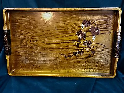 Vintage Japanese Inlaid Chestnut Wood Tray w/Cherry Bark and MOP