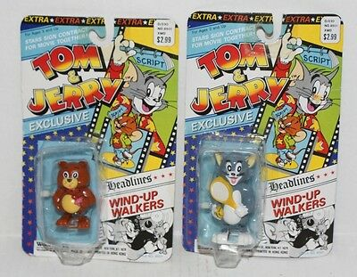 "Tom & Jerry ""TOM and TYKE"" Wind-Up Walkers 1989 NOC (Package Wear)"