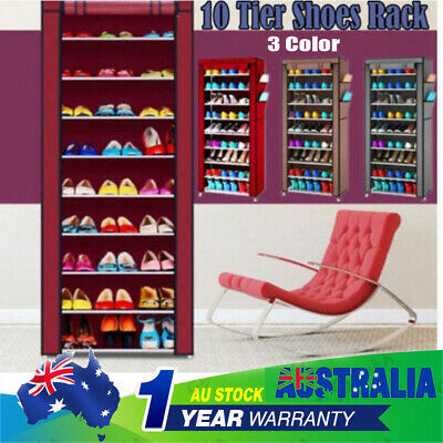 10Tier Shoes Cabinet Storage Organizer Shoe Rack Portable Wardrobe With Cover AU