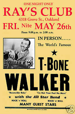1950's Blues: T-Bone Walker at  Oakland Concert Poster 1956