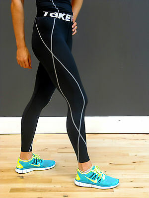 Womens Fitness Compression Pants Full Length Tights S-XXL | Black Ladies Skins