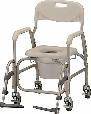 Nova Medical Bathroom Deluxe Shower Chair and Commode with Wheels New Open Box