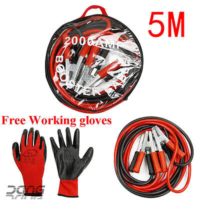 2000AMP Heavy Duty Battery Jump Start Leads 5 Metres Long Booster Cables Car Van