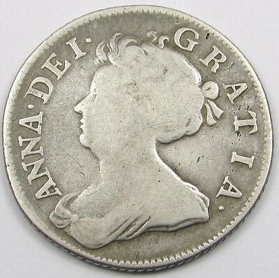 1707 QUEEN ANNE - SILVER ONE SHILLING COIN - ROSES and PLUMES in angles