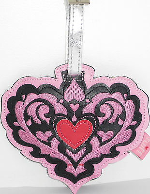 GORGEOUS LUGGAGE BAG TAG for SUITCASE with ADDRESS LABEL- PINK & BLACK HEART