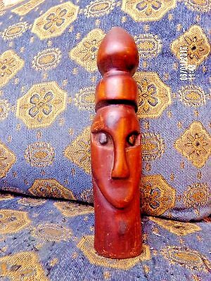 vtg African wood face totem voo-doo hand carved tiki figure tribal head statue