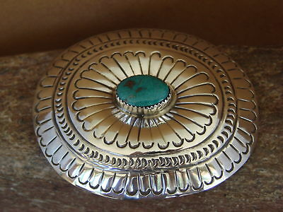 Navajo Indian Jewelry Sterling Silver Turquoise Belt Buckle Carson Blackgoat R01