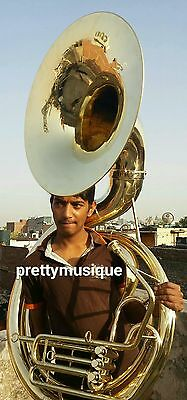 "Sousaphone Big 25""bell Of Pure Brass In Gold Polish + Case+ Mouthpc+Free Shiping"