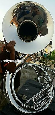 """Sousaphone Big 25"""" Bell Of Pure Brass In Chrome + Mouthpc + Case + Free Shipping"""