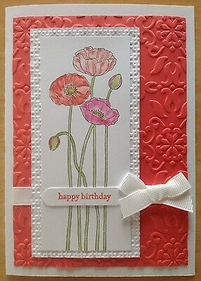 Handmade card: 'happy birthday'; water colour poppies in pink & watermelon.