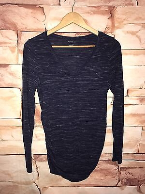 Motherhood maternity long sleeve blue top blouse V neck fitted casual career