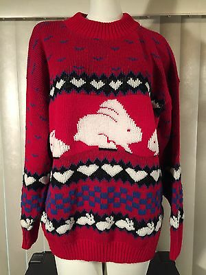 Vintage 1980s Women's Bunny Rabbits Hearts Sweater Large Acrylic Knit Red 80s