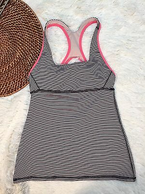 Lululemon Women's Tank Top No Yoga fitness Bra Top Striped Black Pink Size 2 A99