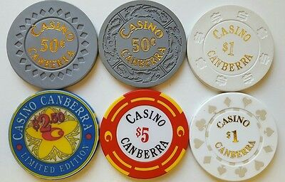 Canberra Casino Chips - mixed gambling gaming tokens poker Roulette Australia