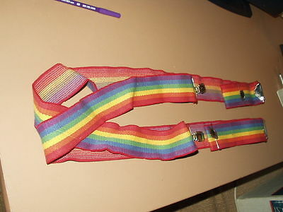 Suspenders heavy duty quality Elastic Rainbow  vintage