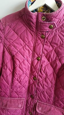 joules womens pink quilted jacket coat size 12