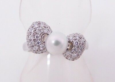 Hello Kitty x MIKIMOTO Japan WG Akoya Pearl Diamond Ribbon Ring FS Gift F/S NEW